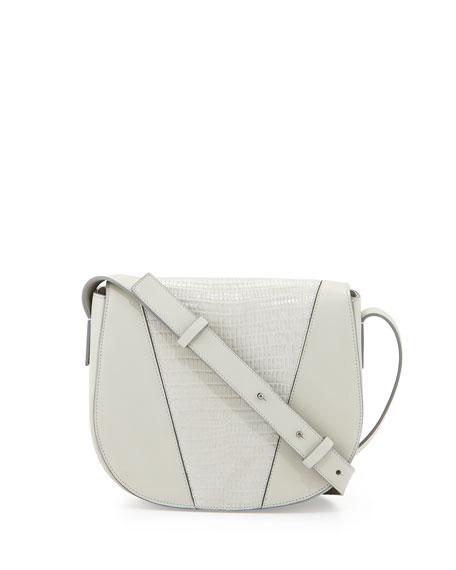 Vince Modern V Small Lizard-Embossed Crossbody Bag, Pearl