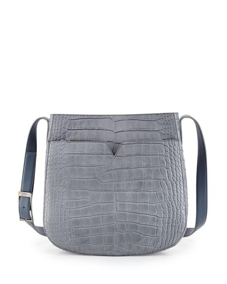 Vince Crocodile-Embossed Medium Messenger Bag, Chambray