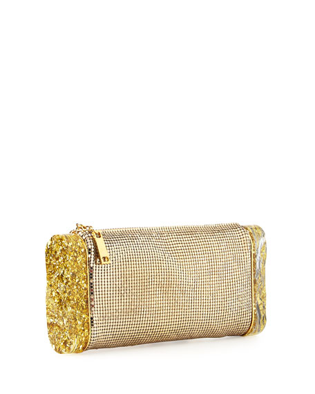 Lara Mesh Ice Clutch Bag, Gold
