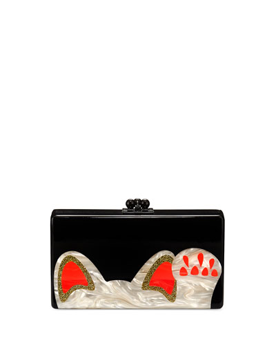 Jean Beckoning Cat Clutch Bag, Obsidian/Sand