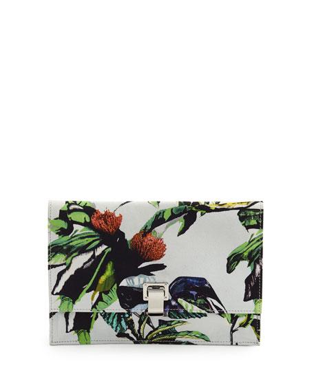 Proenza Schouler Floral-Print Small Satin Lunch Bag, Ecru