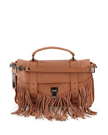 Proenza Schouler PS1 Medium Fringe Satchel Bag, Dune