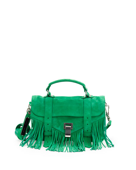 Proenza Schouler PS1 Tiny Fringe Suede Satchel Bag,