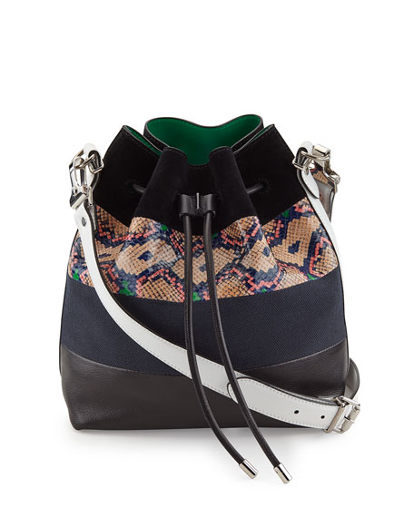 Proenza Schouler Medium Snakeskin-Striped Leather Bucket Bag,