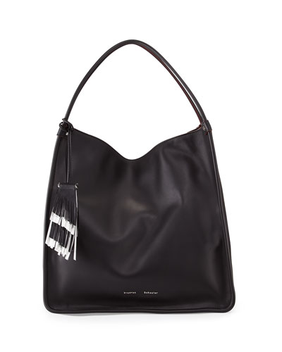 Large Soft Calfskin Tote Bag, Black