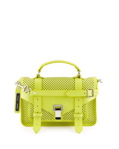 PS1 Tiny Perforated Leather Satchel Bag, Sulfur