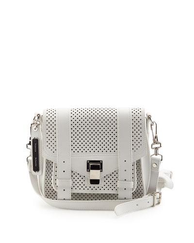 PS1 Perforated Leather Shoulder Bag, Optic White