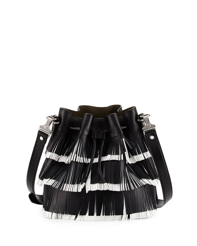 Medium Fringed Leather Bucket Bag, Black/White