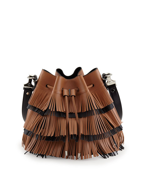 Medium Fringe Bucket Bag, Dune/Black