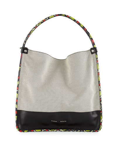 Large Canvas Tote Bag W/Leather & Snakeskin Trim, Black/White