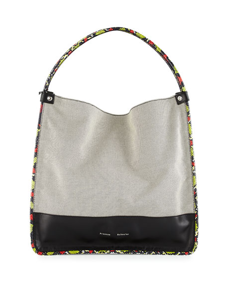 Proenza Schouler Large Canvas Tote Bag W/Leather & Snakeskin Trim, Black/White