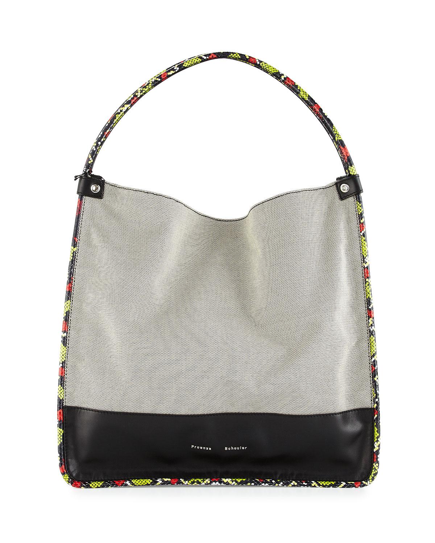 Proenza Schouler Large Canvas Tote Bag W Leather   Snakeskin Trim ... da6c538318ed0