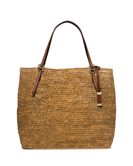 Santorini Large Raffia Tote Bag, Luggage