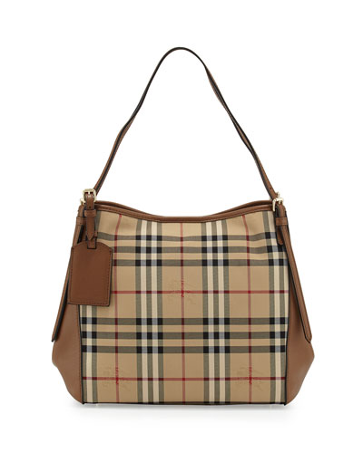 Canterpan Small Horseferry Check Hobo Bag, Honey/Tan
