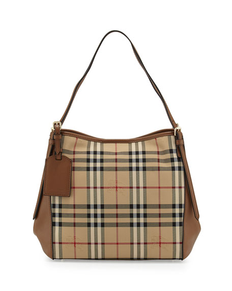 Burberry Small Canter Horseferry Check Hobo Bag, Honey/Tan