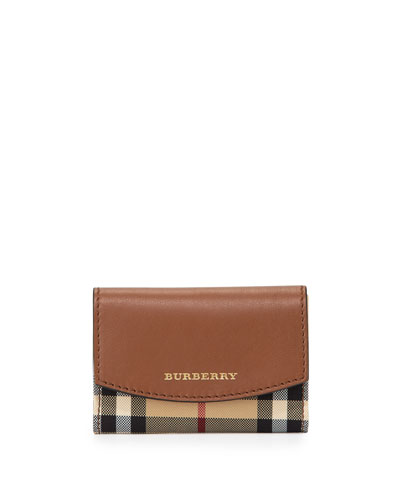 Horseferry Check/Leather Card Case, Tan
