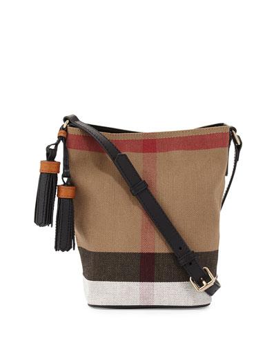 Mini Asby Check Canvas Bucket Bag, Black