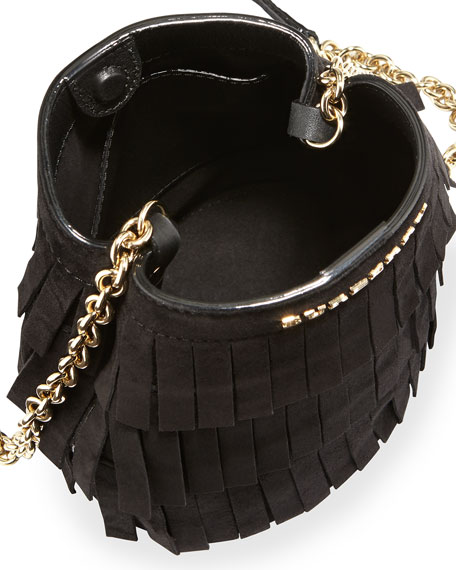 Fringed Suede Baby Bucket Bag, Black