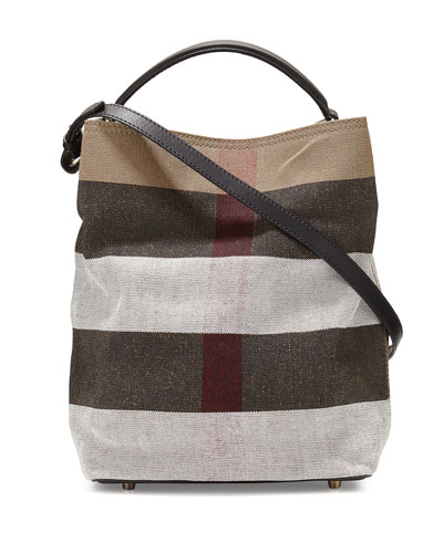 Asby Medium Mega-Check Bucket Bag, Black