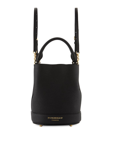 Prorsum Small Leather Bucket Backpack Bag, Black