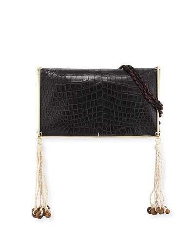 Wire Frame Crocodile-Embossed Boho Bag, Black/Multi