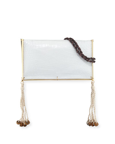 Wire Frame Crocodile-Embossed Boho Bag, White/Multi