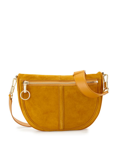Scott Small Half-Moon Suede Saddle Bag, Ochre