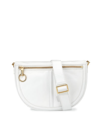Scott Small Leather Half-Moon Messenger Bag, White
