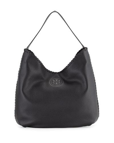 Marion Hobo Bag w/Whipstitch Trim, Black
