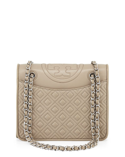 Fleming Quilted Medium Flap Shoulder Bag, French Gray
