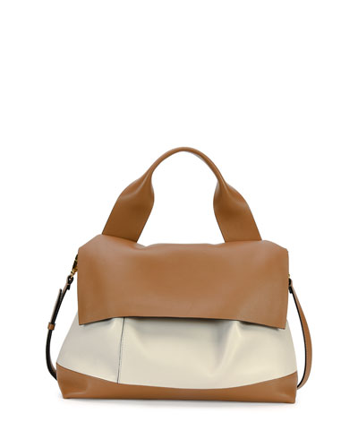 Bicolor Flap Satchel Bag, Brown/White