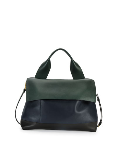 Colorblock Satchel Bag w/Strap, Navy/Green/Black