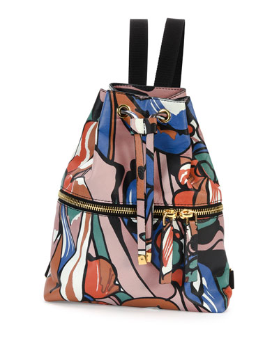 Abstract-Print Drawstring Backpack