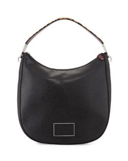 Ligero Leopard-Print-Strap Hobo Bag, Black/Multi