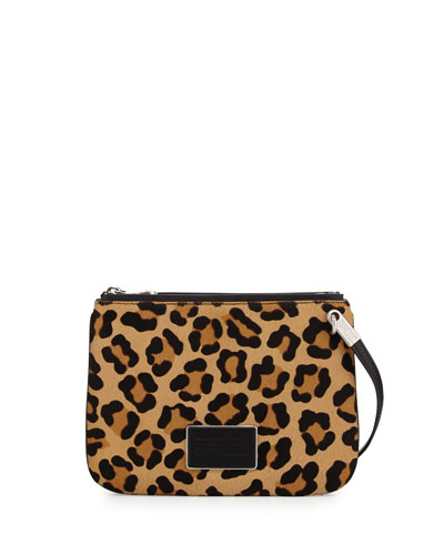 Ligero Leopard-Print Calf Hair Double Percy Crossbody Bag, Black Multi