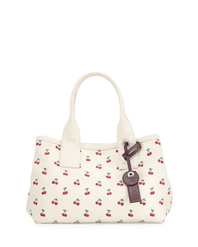 Embroidered Fruit Canvas Tote Bag, Off White/Cherry