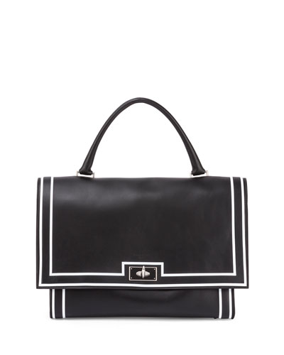 Shark Medium Painted-Stripe Satchel Bag, Black