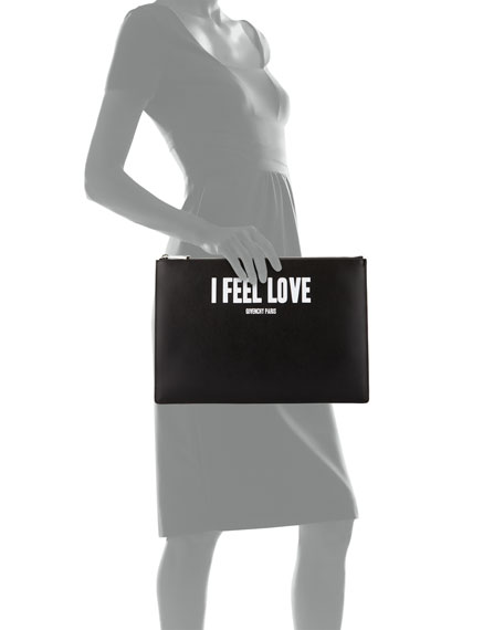 """I Feel Love"" Large Pouch, Black"