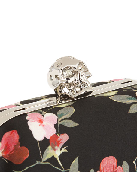 Classic Skull Floral Satin Clutch Bag w/Chain