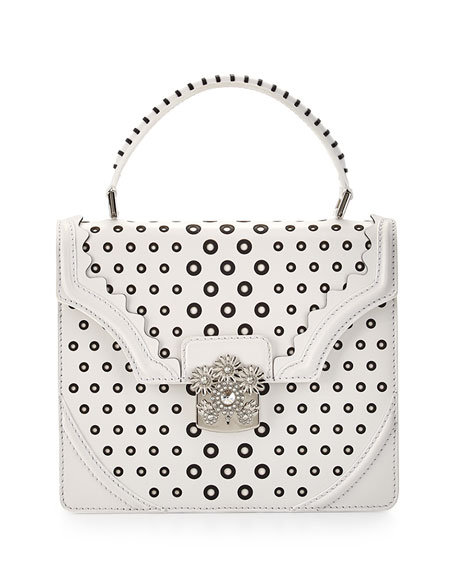 Alexander McQueen Bicolor Circles Flower Top-Handle Satchel Bag, Ivory/Black