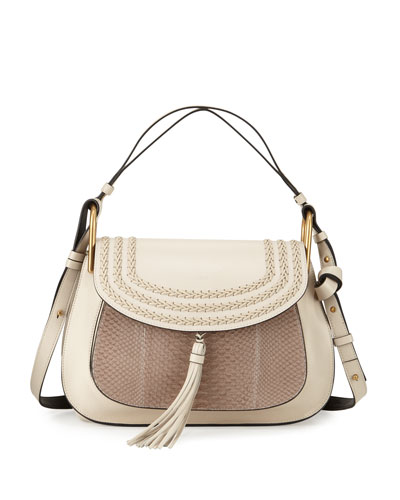Hudson Double-Carry Python-Panel Shoulder Bag, Open Off White