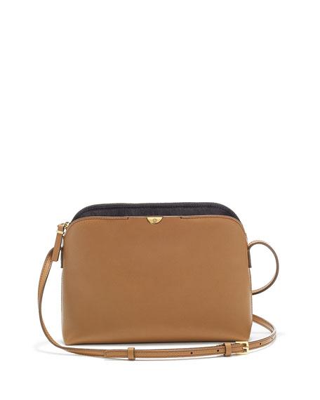 Multi-Pouch Calfskin Crossbody Bag, Copper/Black