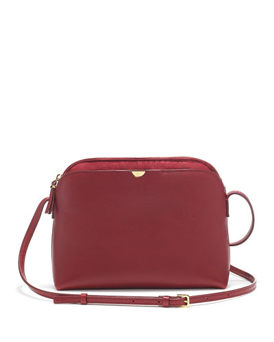 Multi-Pouch Calfskin Crossbody Bag, Beet
