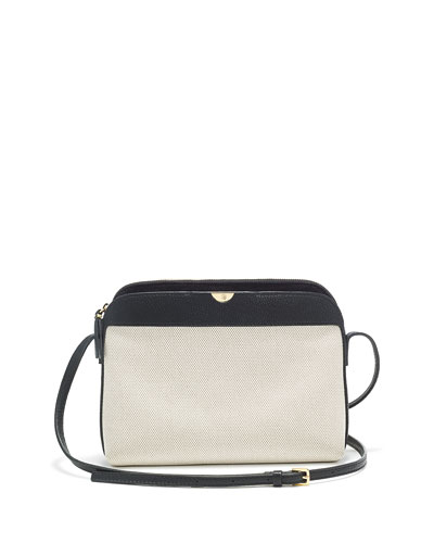Canvas/Leather Multi Pouch Bag, Natural/Black