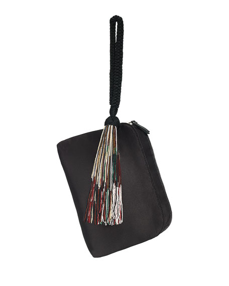 Beaded-Tassel Satin Wristlet, Black/Multi