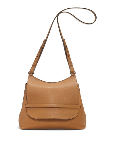 Sideby Pebbled Calfskin Shoulder Bag, Copper