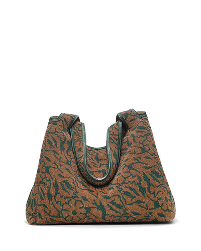 Duplex Floral Beaded Hobo Bag, Cigar Dark Spruce
