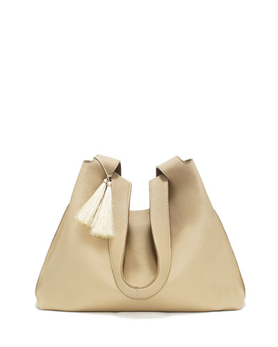 Duplex Calfskin Hobo Bag, Heathered Stone