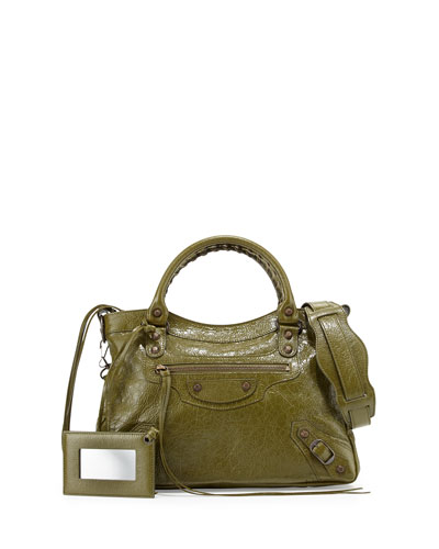 Classic City Town Lambskin Tote Bag, Olive Green
