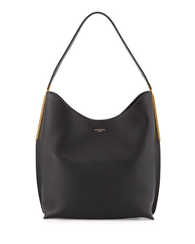 Alphee Medium Leather Hobo Bag, Black